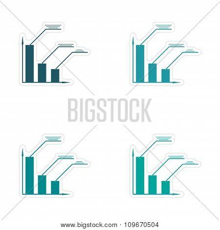 Stylish assembly sticker on paper economic graph