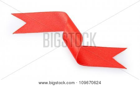 A little red curved ribbon isolated on white