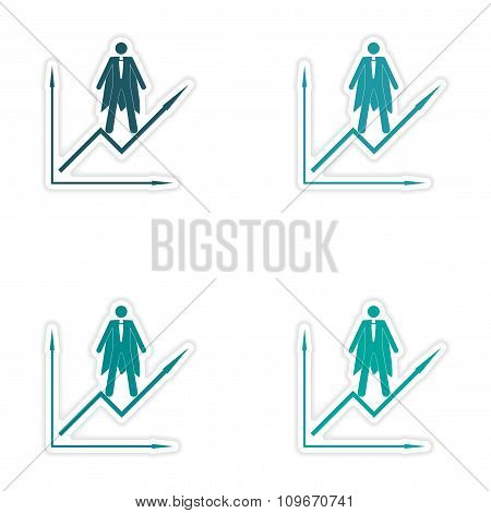Set of stylish sticker on paper man economic schedule
