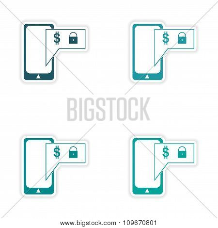 Stylish assembly sticker on paper Mobile applications on white background