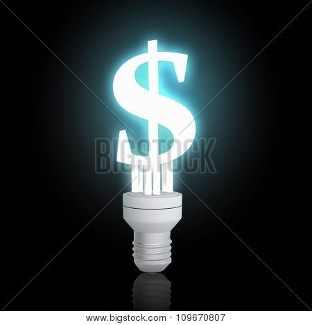 Glowing light bulb with dollar sign on dark background