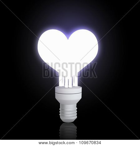 Glowing electrical light bulb on dark background