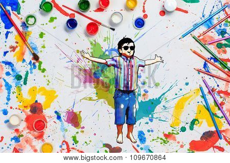 Colorful conceptual image of children drawing and painting concept