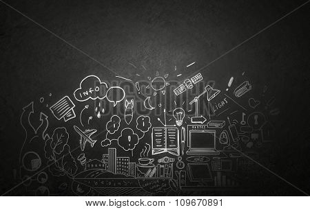 Background with business sketches on dark concrete wall