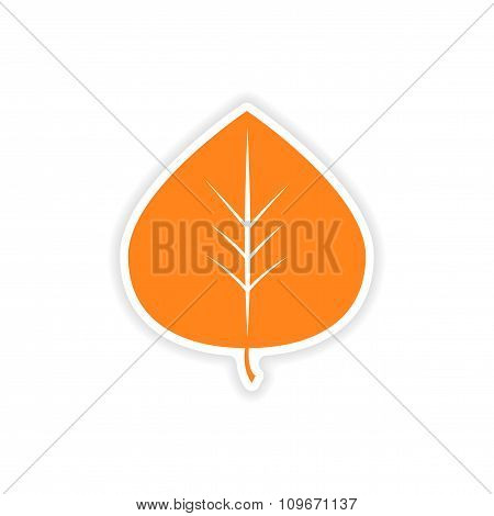 icon sticker realistic design on paper leaves