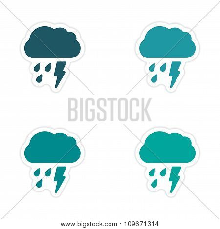 assembly realistic sticker design on paper rain cloud lightning