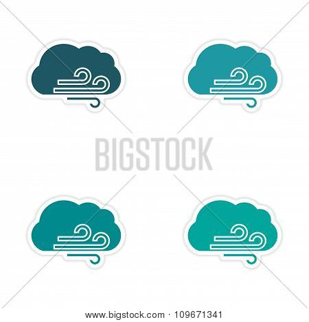 assembly realistic sticker design on paper cloud wind