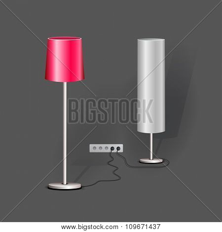Stylish Loft office lamp lights. Realistic vector mockup illustration.