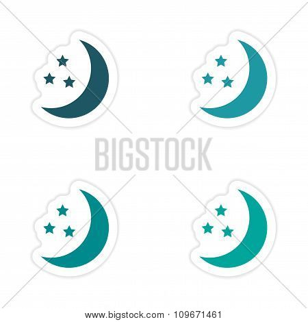 assembly realistic sticker design on paper moon Star