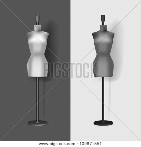 Sewing fashion mannequin. Realistic vector mockup illustration.