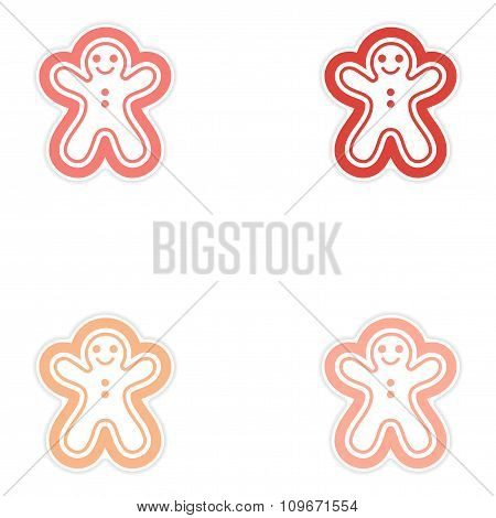 Set of paper sticker on white background Christmas cake
