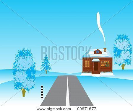 House beside roads in winter