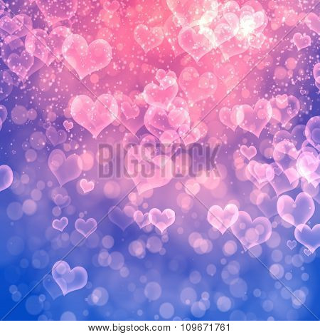 Abstract heart fprm bokeh background