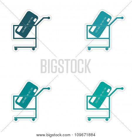 Set of stylish sticker on paper bank card in the cart