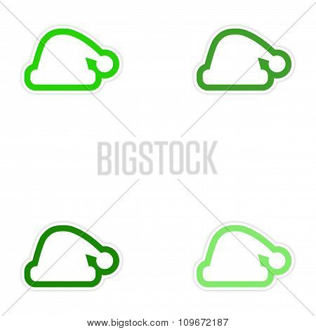 Set of paper stickers on white background Santa hat