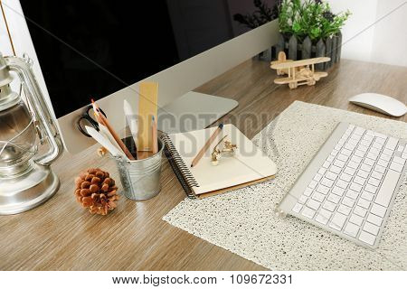 Workplace with Scandinavian interior design, close-up. Retro design concept