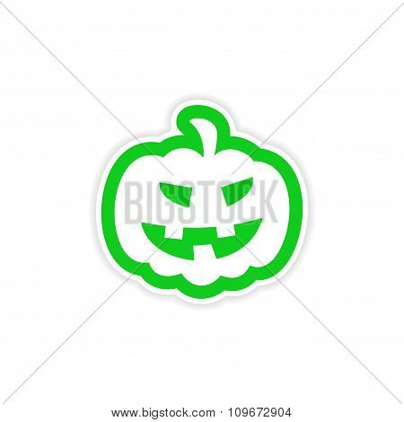 icon sticker realistic design on paper pumpkin