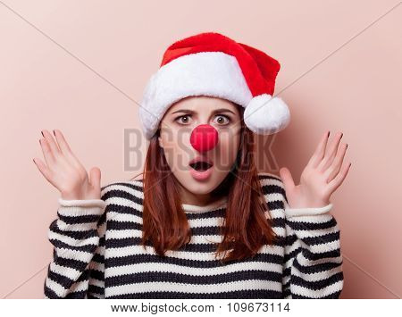 Woman With Red Clown Nose