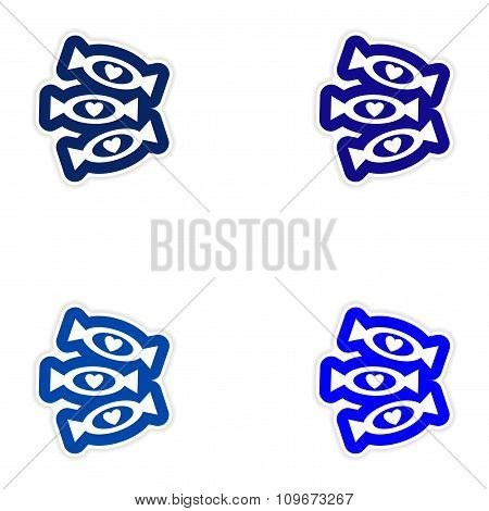 Set of paper sticker on white background chocolate candies
