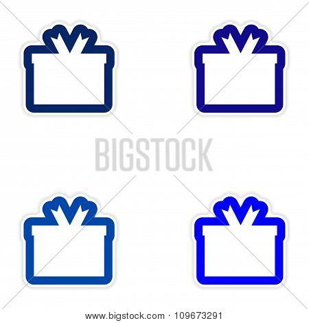 Set of paper sticker on white background gift box