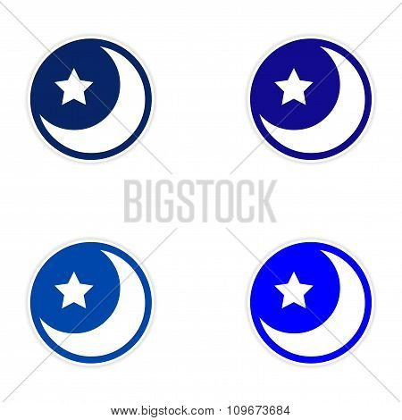 assembly sticker logo moon and star on a white background