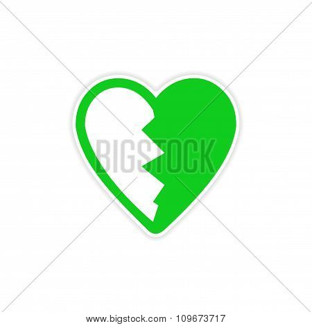 sticker bright heart broken into pieces on a white background