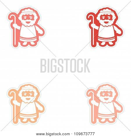 Set of paper stickers on white background father of Jesus