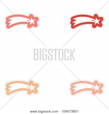 Set of paper stickers on white background Christmas star