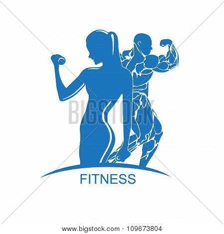 Fitness club emblem with woman and man silhouettes, vector illustration
