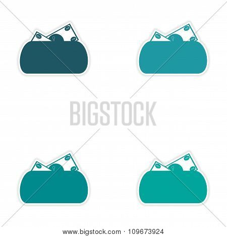 Set of stylish sticker on paper purse and money