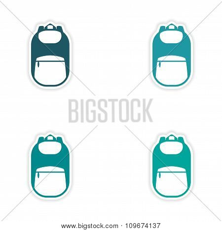 assembly realistic sticker design on paper backpack