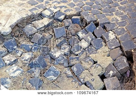 Broken pavement close up