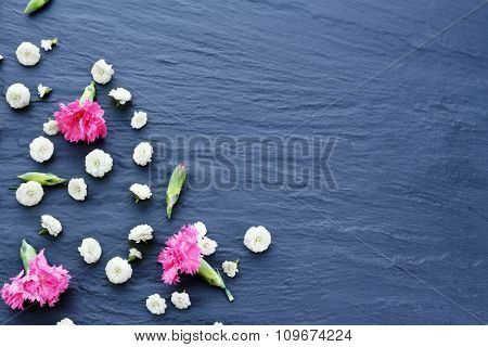 Beautiful small wild flowers on wooden background