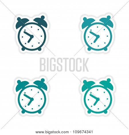assembly realistic sticker design on paper alarm clock