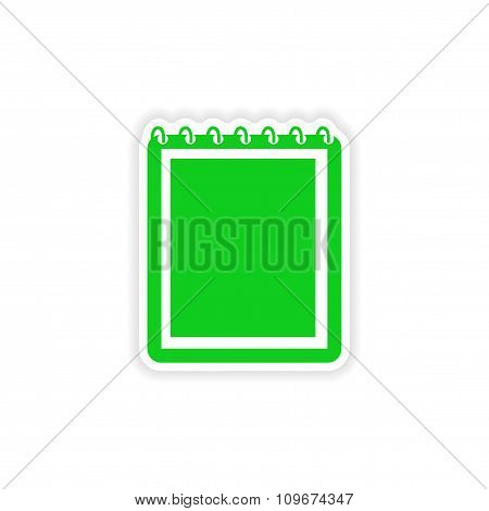 icon sticker realistic design on paper notebook