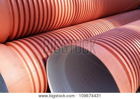 Heap of steel pipes close up