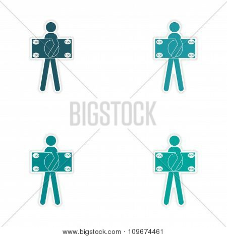 Stylish assembly sticker on paper man holding banknote
