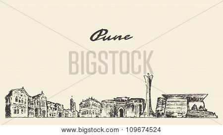 Pune skyline vector illustration hand drawn