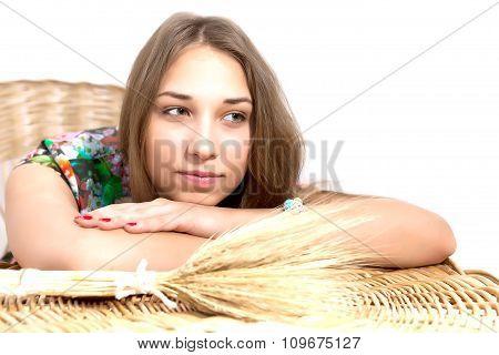 Women Lying On The Wicker Table