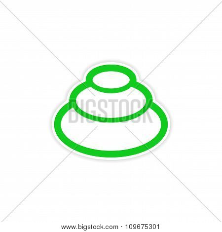 sticker Eastern spice of wasabi on a white background
