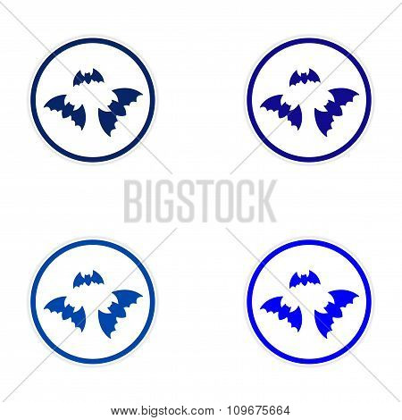 assembly sticker full moon and bats on a white background