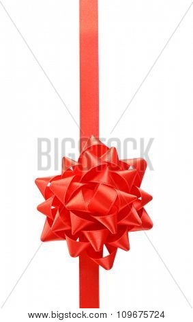 Red bow with ribbon isolated on white background