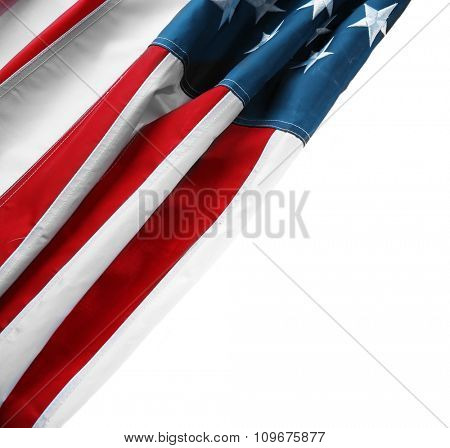 Part of American National Flag isolated on white