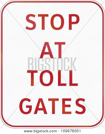 Road Sign In The Philippines - Stop At Toll Gates