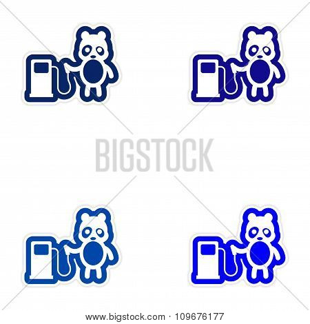 Set of paper stickers on white background panda petrol pump