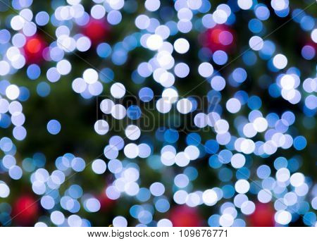 Christmas Holiday Background Over Festive Bokeh With Blur Red Ball