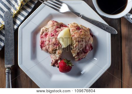 Fresh Tart Strawberry Scone Dessert