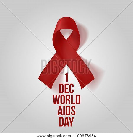 Realistic red Ribbon. Awareness AIDS Symbol