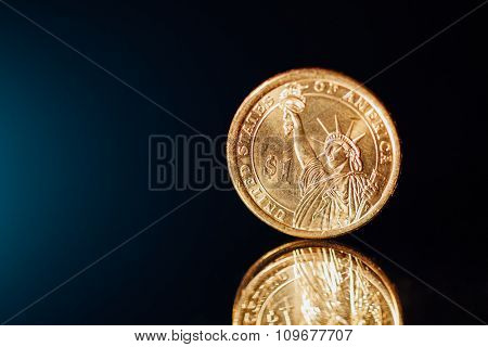 golden dollar coin with copy-space