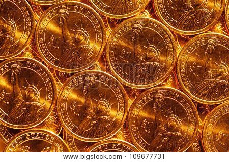 golden dollar coins background